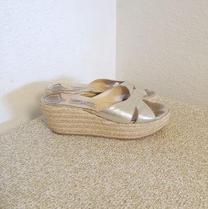 Jimmy Choo Gold Leather Wedge Platform Sandals